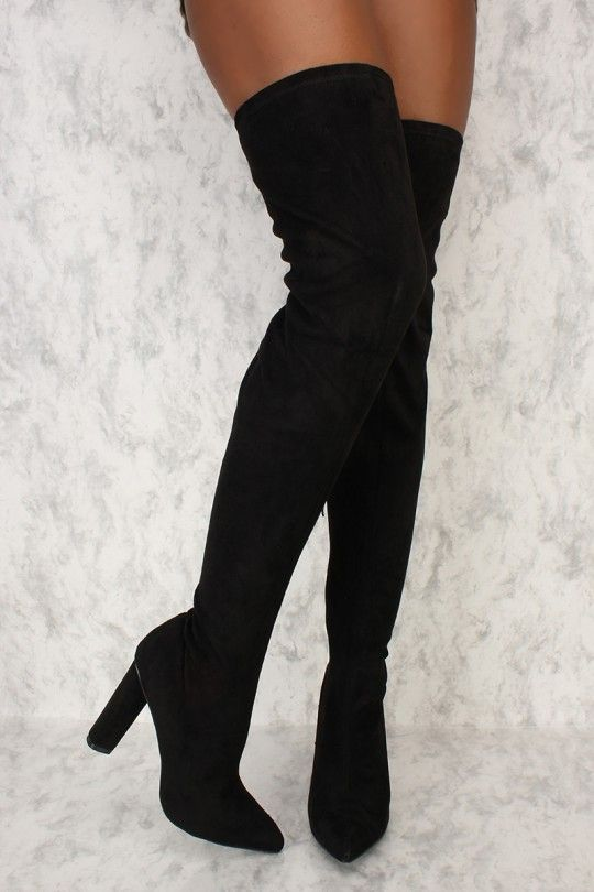 1b0901c6d207 Black Pointy Toe Thigh High Chunky Round Heel AMI Clubwear Boots Faux Suede