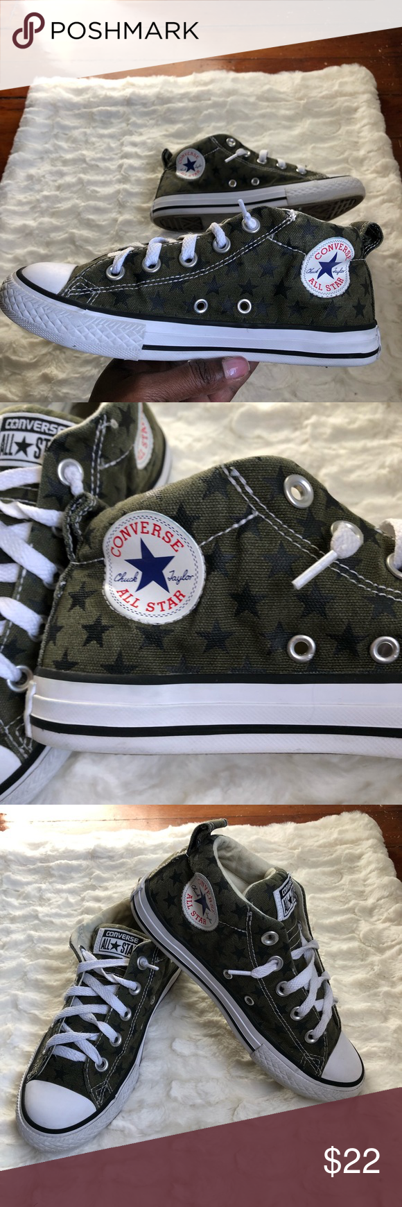 dcfc1e4b58b2 Converse All Stars Army Green And Black Stars  Good pre owned condition   Green with black star pattern  Can be for boy or girl  Size 2 Converse Shoes  ...
