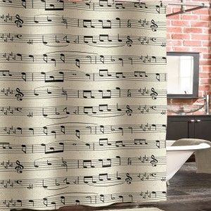 Unique Fabric Shower Curtains : Black And White Music Note Shower .