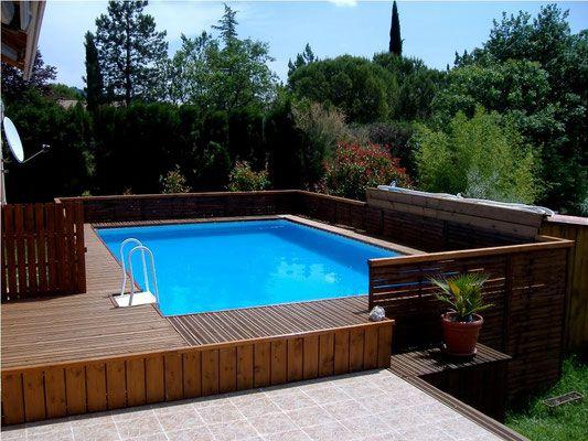 Piscine laghetto CLASSIC habillage bois CLASSIC \ POP Habillages - piscine hors sol beton aspect bois