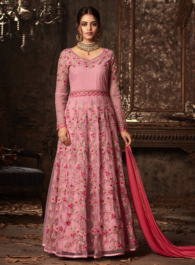 Pink net long anarkali suit long anarkali suit with salwar