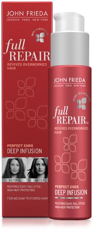 JOHN FRIEDA Full repair - Perfect ends deep infusion. Smoothes and protects medium-textured hair damaged from high heat. This breakthrough formula with Inca Inchi , a lightweight, micro-oil rich in omega-3, feels like it absorbs into worn-torn strands instead of just coating the surface. Weightlessly reverses the look and feel of damage on lengths and ends to leave hair smooth, shiny and full of body. Helps protect against breakage from heat styling.   This. is. amazing.