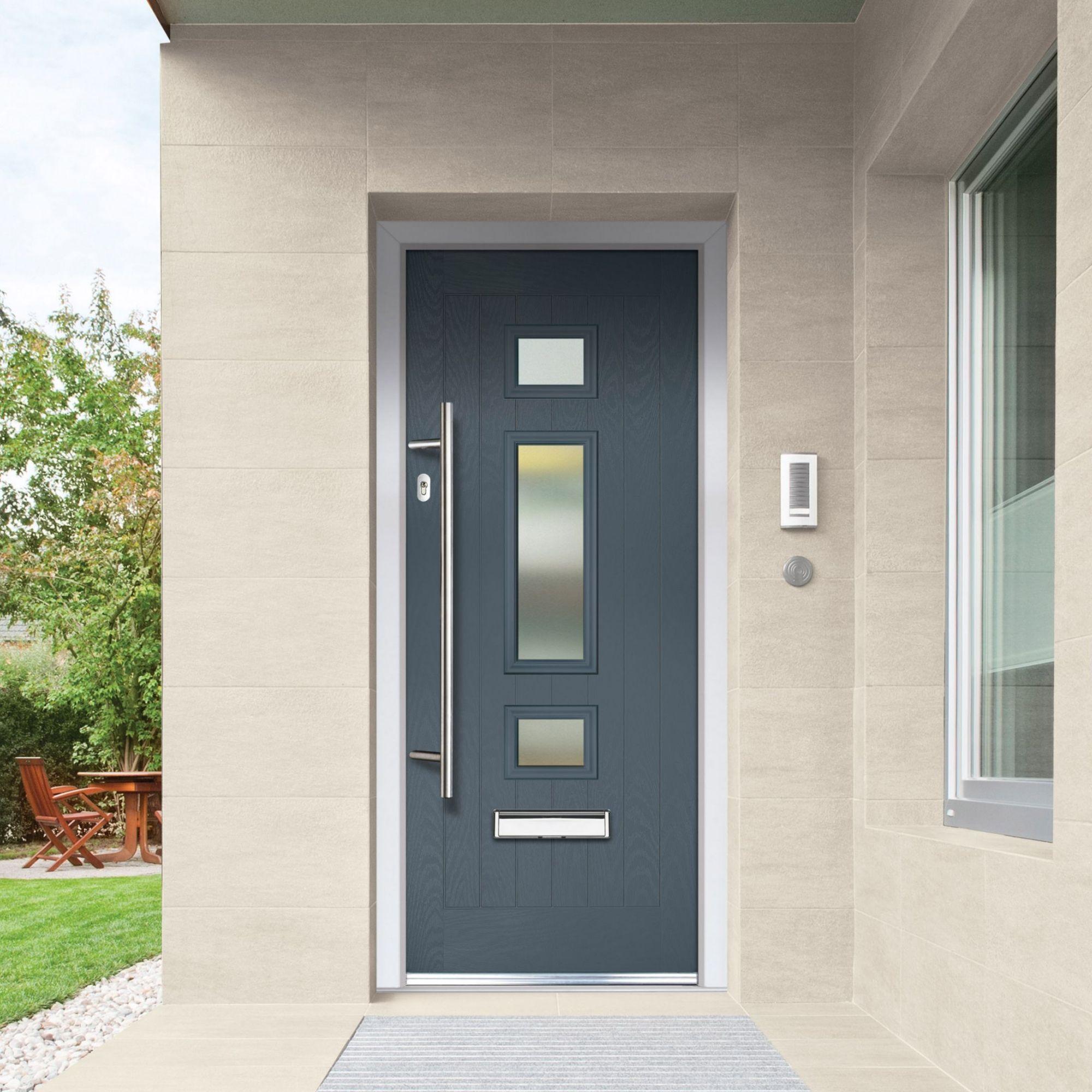 Crystal 3 Panel Frosted Glazed Grey Composite Rh External Front Door Set H 2055mm W 920mm In 2020 External Front Doors Composite Front Door Front Door