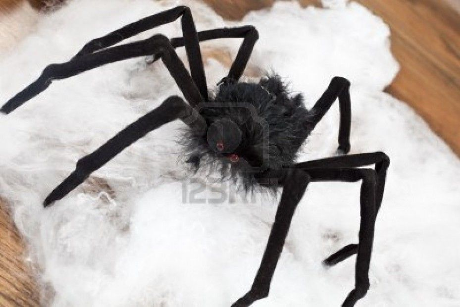 Black Scary Spider For Halloween Night Celebrations Royalty Free - simple halloween decorations to make