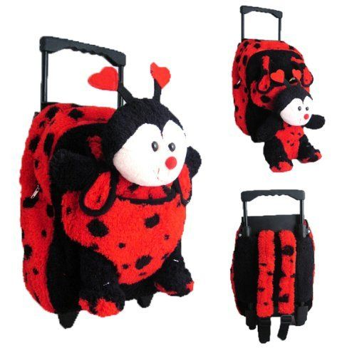 2 Item Bundle: Kreative Kids 8066 Red Ladybug Plush Rolling Backpack + Free Gift - Click image twice for more info - See a larger selection of red  backpacks at http://kidsbackpackstore.com/product-category/red-backpacks/. - kids, juniors, back to school, kids fashion ideas, teens fashion ideas, school supplies, backpack, bag , teenagers girls , gift ideas, red