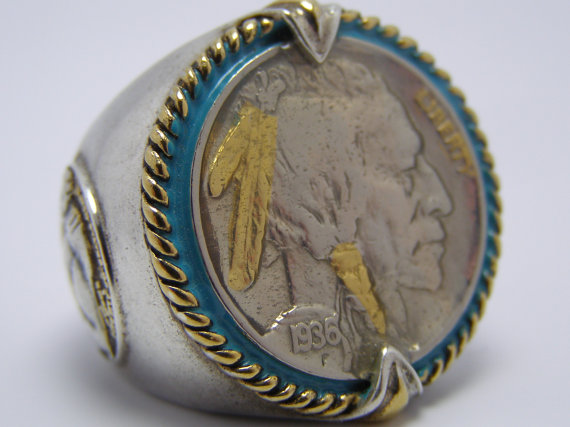 Sale Sterling Silver 24k Gold 1936 Us Indian Head