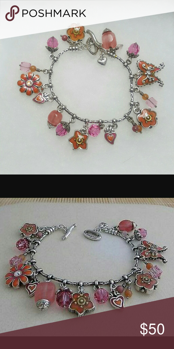 Brighton Spring Flower Bracelet Nwot Pink Charm Toggle Clasp With C Purple And Charms