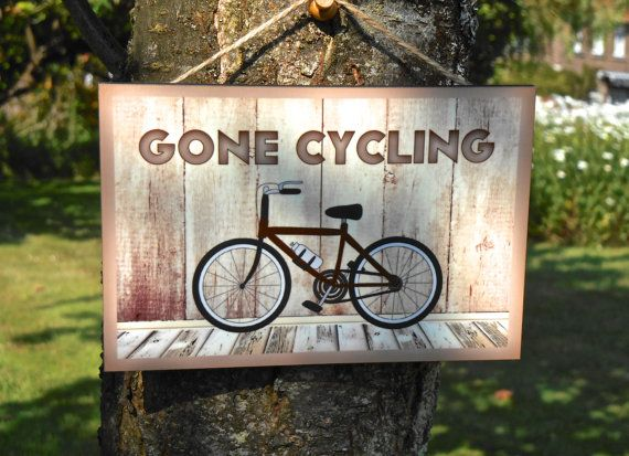 GONE CYCLING WOOD SIGN Rustic Personalised Hanging Bike Plaque Add Your Name