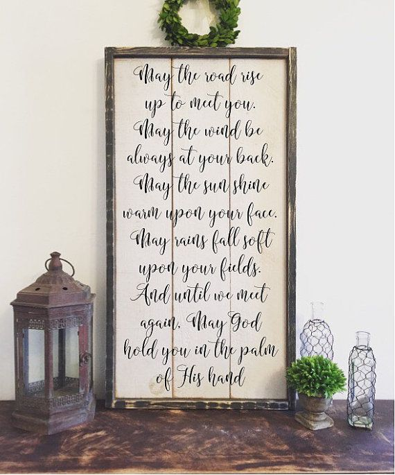 Vintage Wooden Signs Home Decor: Irish Blessing Sign Vintage Wood Sign By BrushAndTwine On