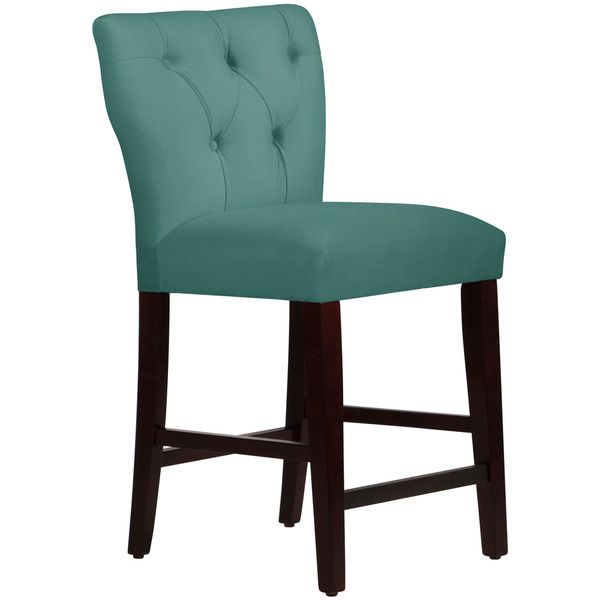 Skyline Furniture Tufted Hourglass Counter Stool in Premier Tidepool