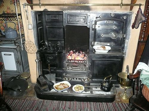 The Victorian Kitchen Fireplace | Victorian kitchen, Victorian and ...