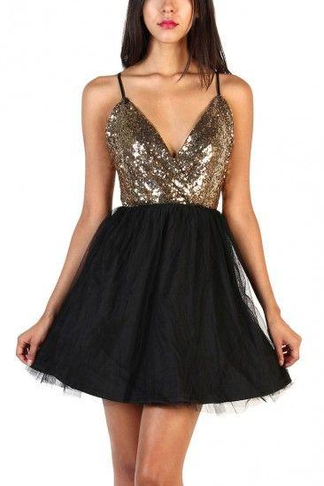 Lovely Sequin Dress - Black/Gold