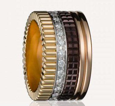 L'alliance parfaite de Boucheron Bague quatre diamant : assemblage danneaux en or jaune, blanc, rose avec une pointe de diamant