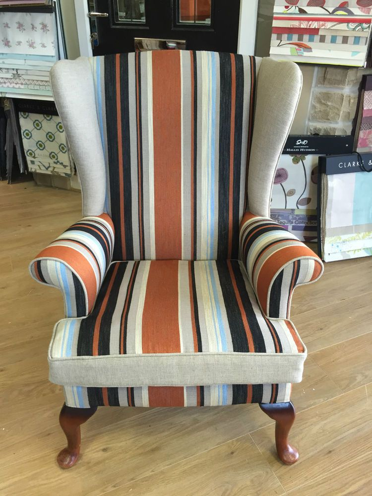 Vintage Re Upholstered Parker Knoll Wing Back Chair In