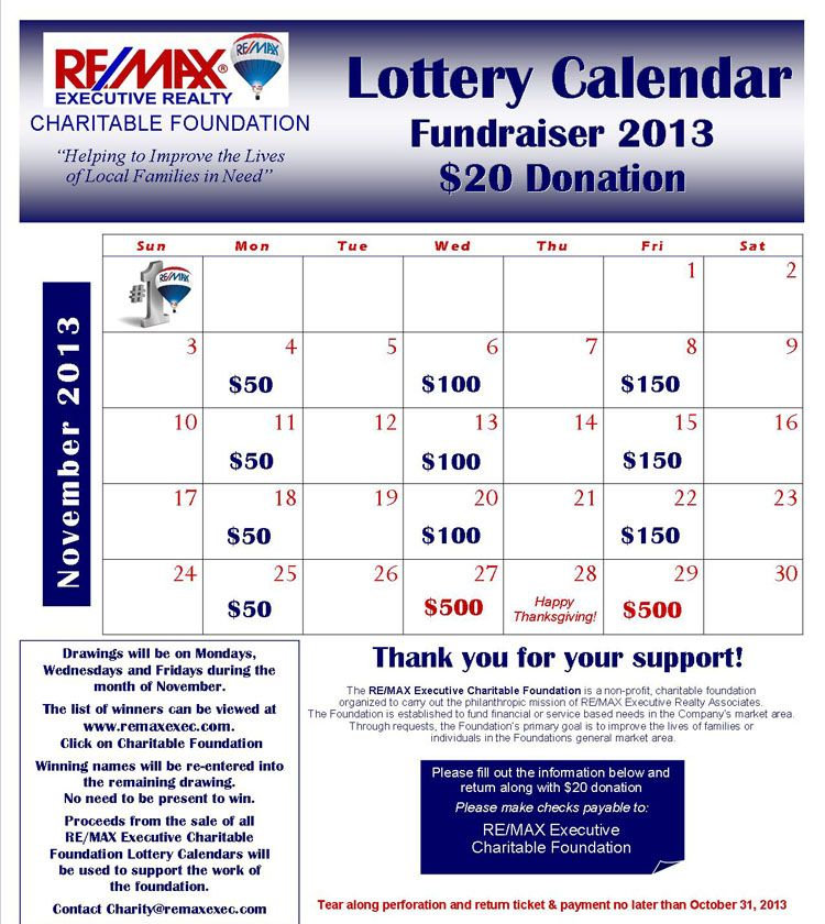Calendar Raffle Ideas : Cash calendar fundraiser google search fundraisors