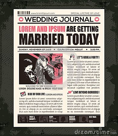 Newspaper Wedding Invitation Design Template  Wedding