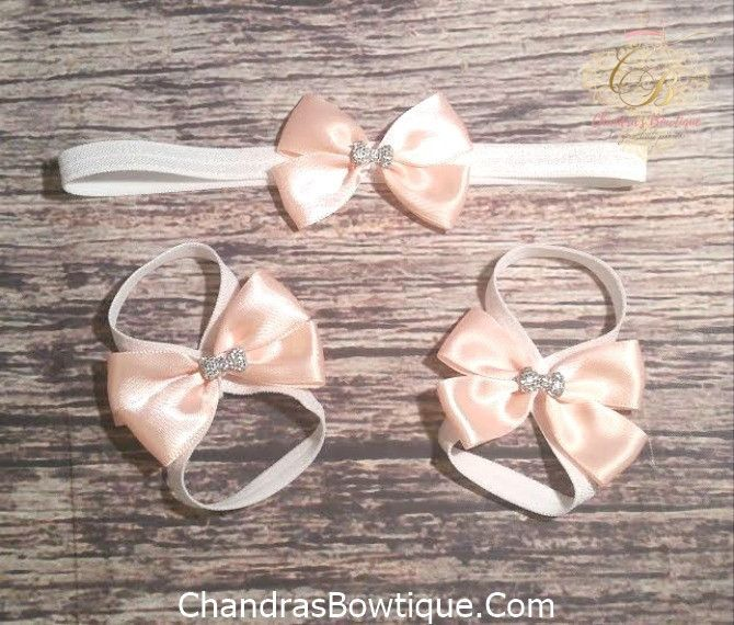 Peach and Silver Bow Headband and Barefoot Sandals Set