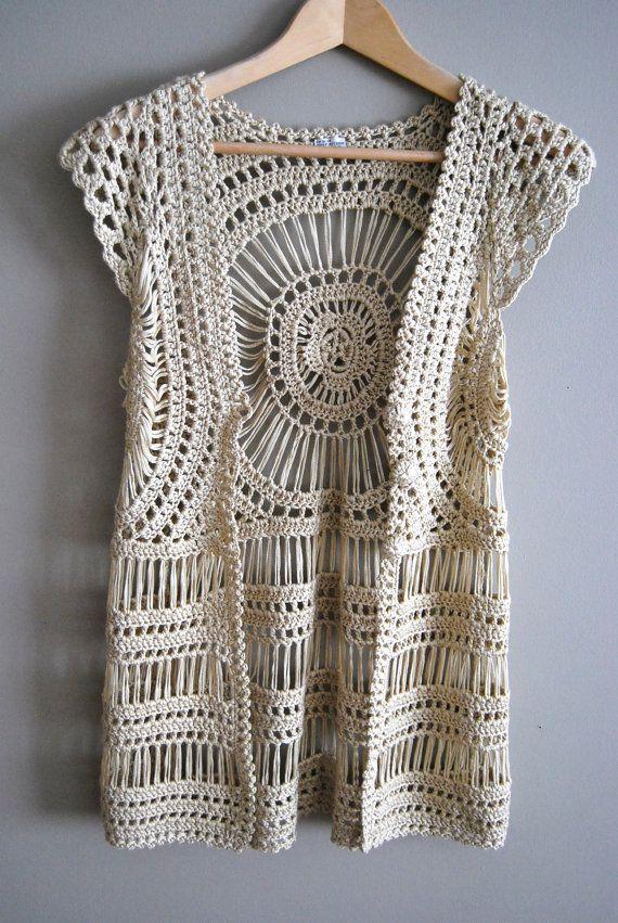 The Abby Top Vintage 60s 70s Crochet Lace Boho Top Tank Vest