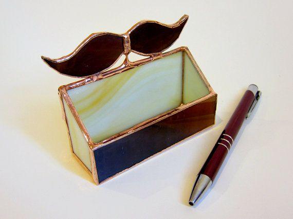 Very fun stained glass mustache biz card holder for your desk very fun stained glass mustache biz card holder for your desk colourmoves
