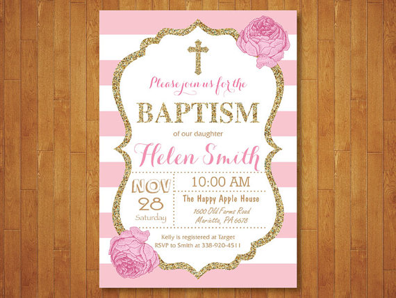 Pink And Gold Baptism Invitation Girl By Happyappleprinting