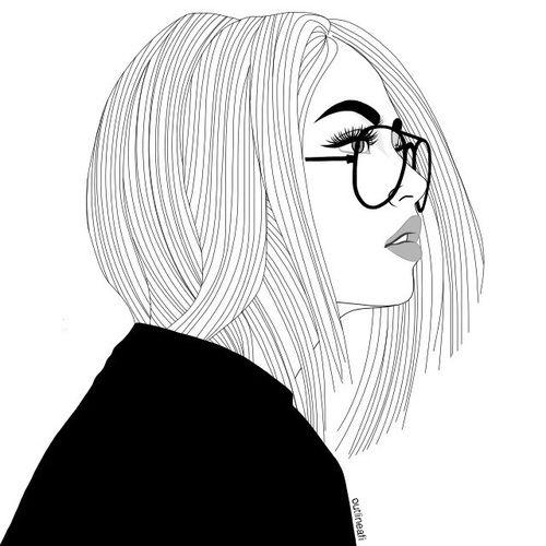Outline Girl Drawings Tumblr Glasses Drawing Girl Outline