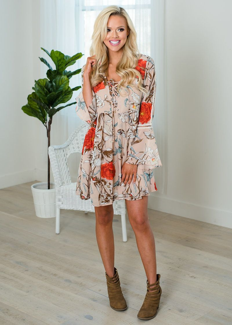 No time for tears floral belle sleeve lace trim dress taupe lace