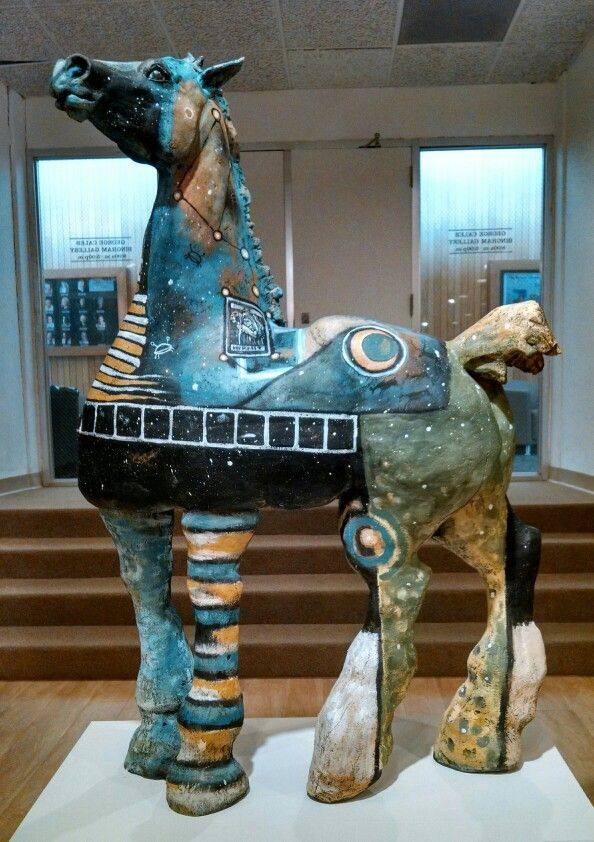 Blue -  horse - sculpture - Marni Gable