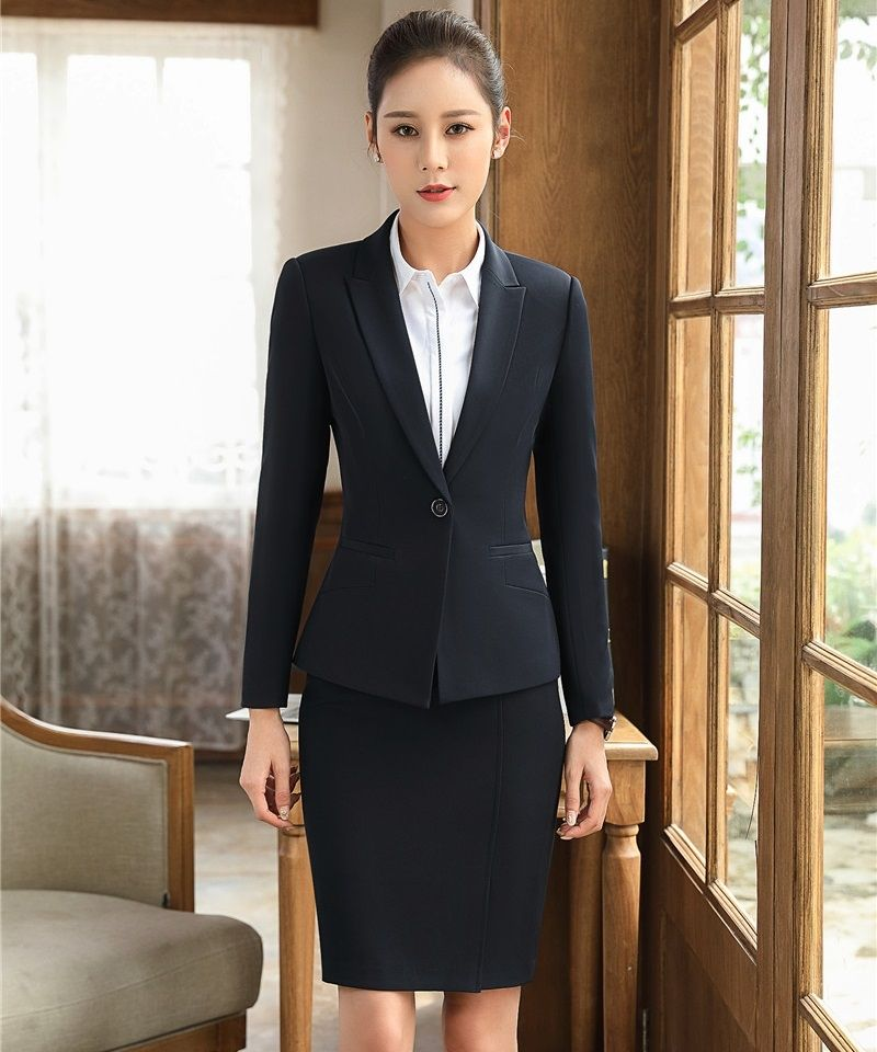 b4faf35fe29f Ladies Black Blazers Women Business Suits Formal Office Suits Work Wear with  Skirt and Jacket Sets Elegant