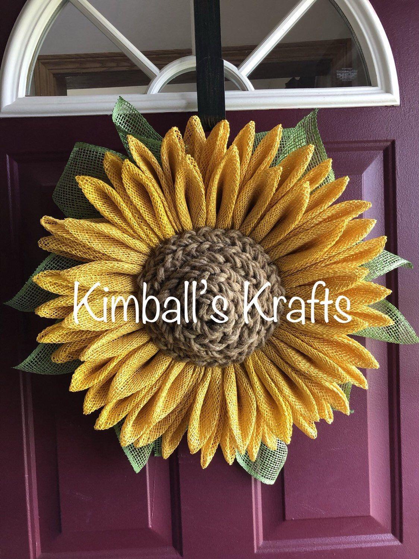 Photo of Sackleinen Sonnenblume, Sackleinen Kranz, Herbst Kranz, Herbst Sackleinen Kranz, Sonnenblumen Wandbehang, Sonnenblumen Dekor, Sonnenblume, Bauernhaus Dekor,