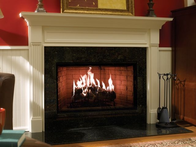 Black Mantel Heat N Glo Fireplace With Images Freestanding Fireplace Fireplace Hearth Fireplace