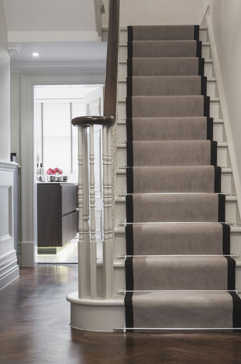 Greige Stairs … Traditional Staircase Flooring For Stairs House | Decorative Carpet For Stairs | Rectangular Cord Treads | Gingham | Brown | Animal Print | Stair Runner Matching Landing