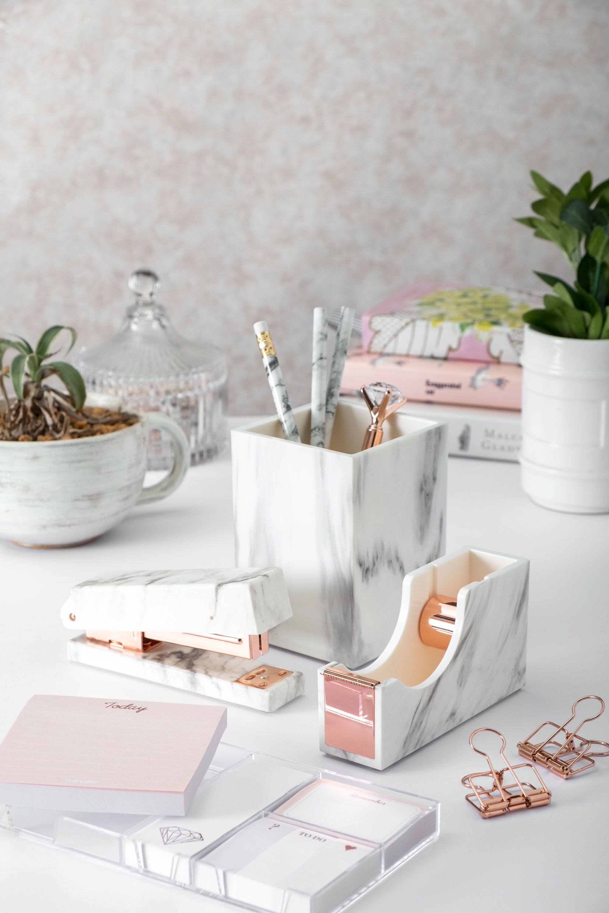 Marble Desk Set with Pen Holder, Tape Dispenser and Stapler