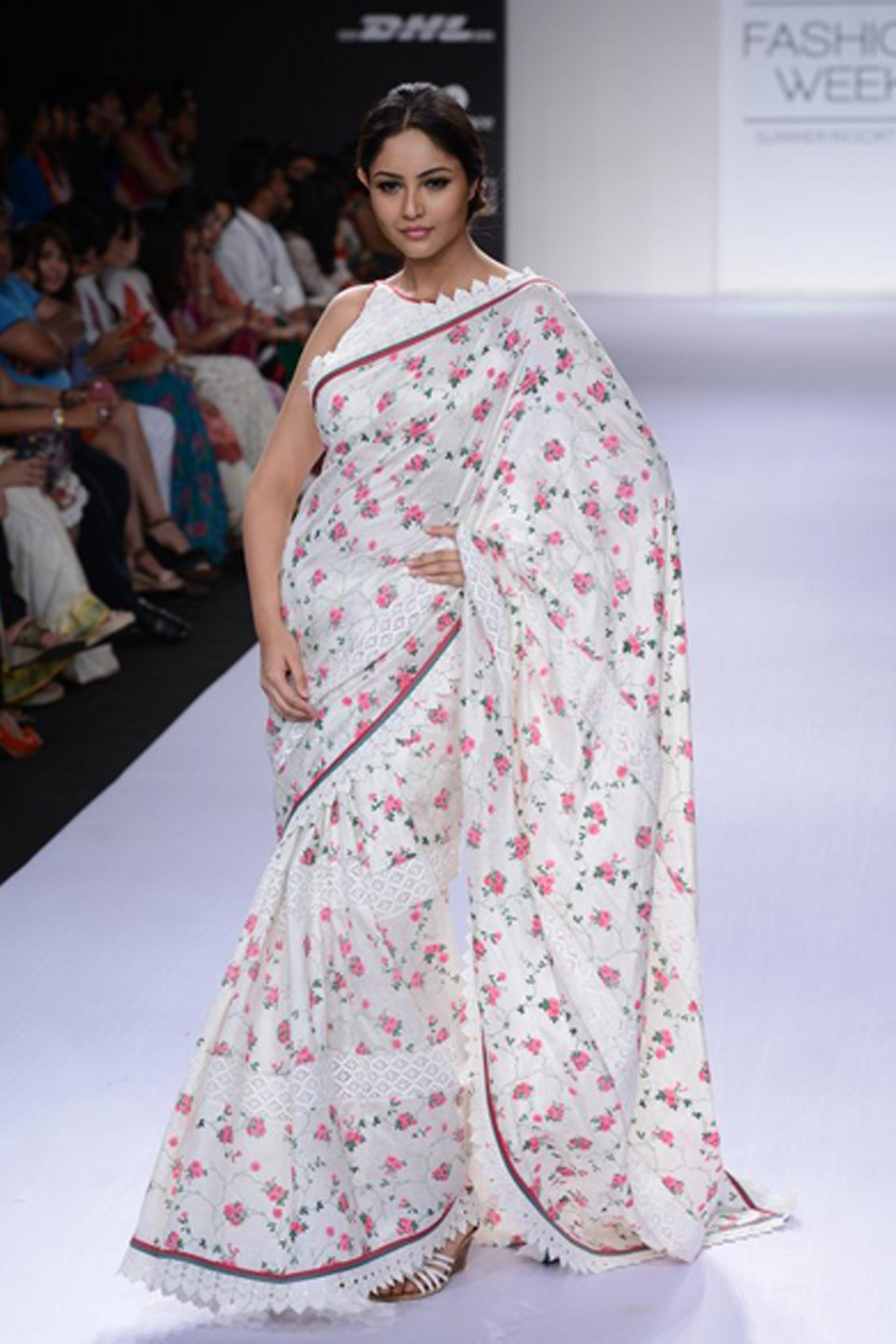 Saree blouse design for chiffon saree shruti sancheti collection  sari  sari  pinterest  saris saree