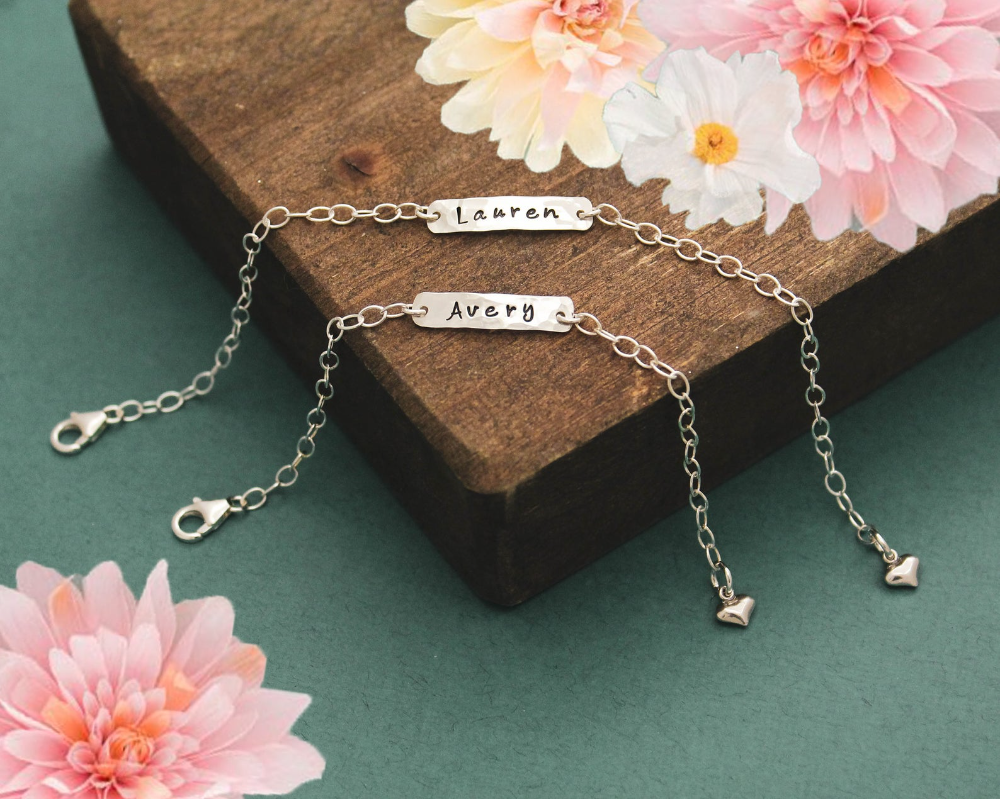 Mother Daughter Bracelet Set Personalized Hand Stamped Names | Etsy