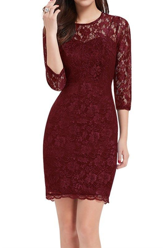 Burgundy 34 Sleeve Lace Dress Vestidos Color Vino Cortos