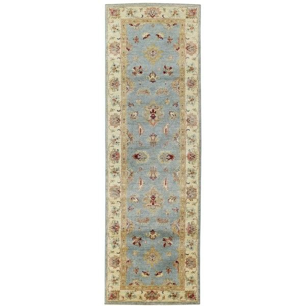"Macy's Fine Rug Gallery Mansehra Joon Aqua 2'6"" x 7'10"" Hand-Knotted... ($1,318) ❤ liked on Polyvore featuring home, rugs, no color, blue green area rug, hand knotted rugs, wool rugs, hand knotted wool rug and knotted wool rug"