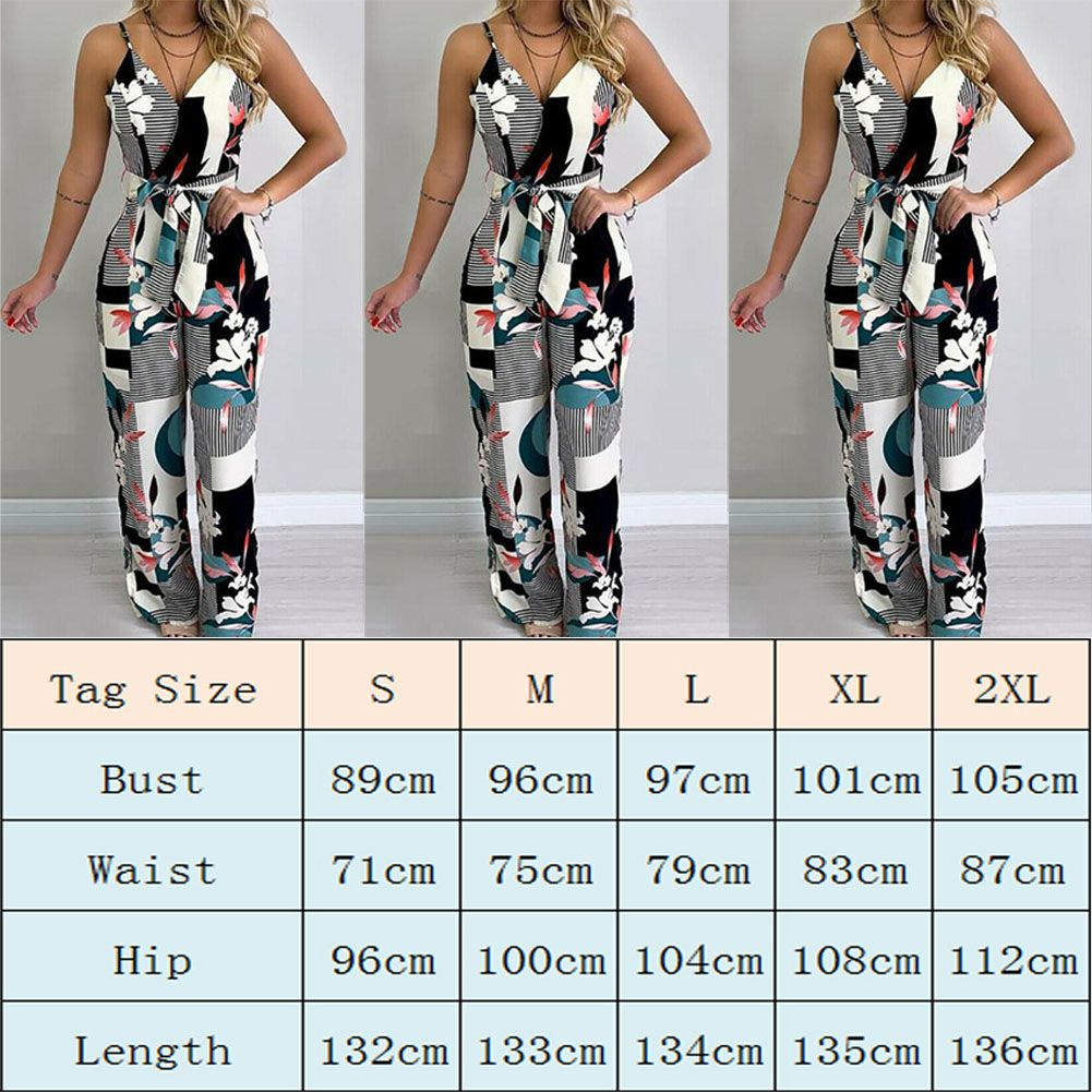 Womens Floral Print Strappy Jumpsuit Lady Summer Beach Wide Leg Holiday Playsuit