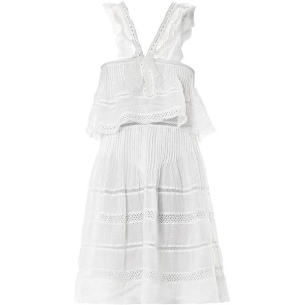 ISABEL MARANT Obira Vintage ruffle ramie dress (2.685 BRL) ❤ liked on Polyvore featuring dresses, isabel marant, vestido, white, vintage dresses, strap dress, white cocktail dress, vintage cocktail dresses and frilly dresses