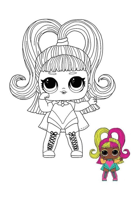 lol surprise hairvibes glow grrrl coloring page in 2020