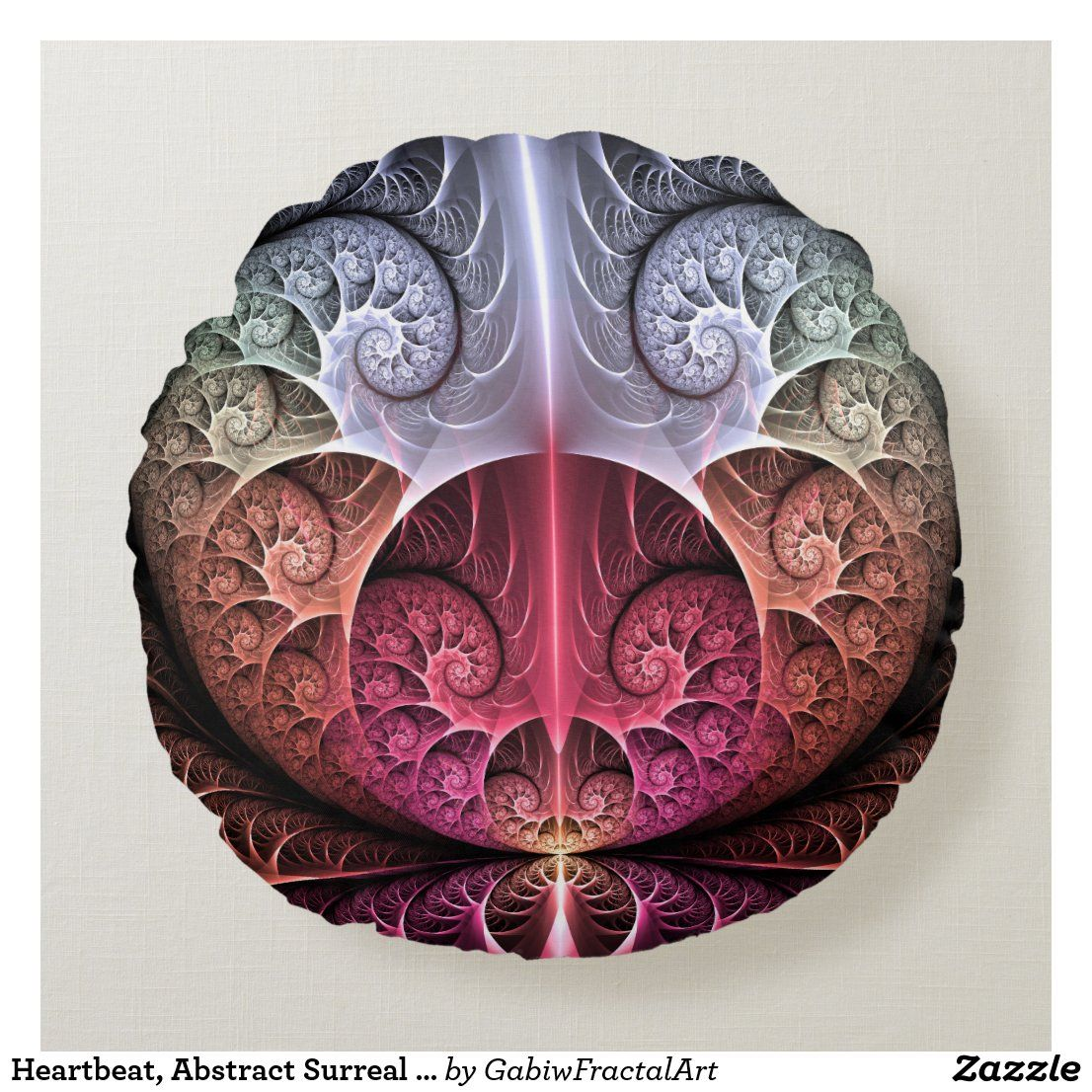 Heartbeat, Abstract Surreal Fantasy Fractal Art Round Pillow