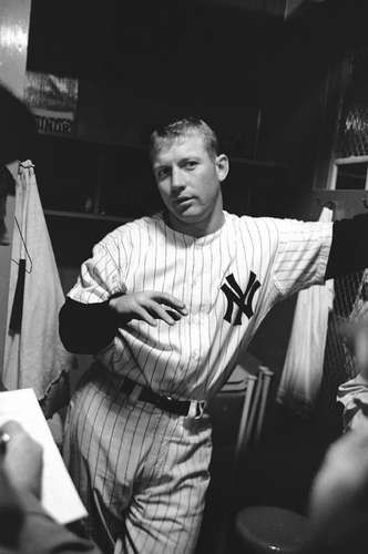 Arthur Rickerby   Mickey Mantle #7 of the New York Yankees addresses the media after a MLB game in the Bronx, New York in 1961   1961