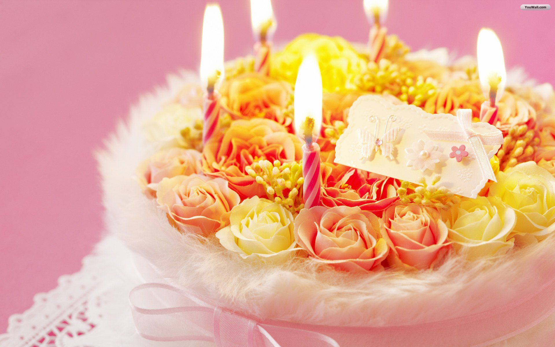 Birthday Wallpapers Desktop Happy Flowers Cake