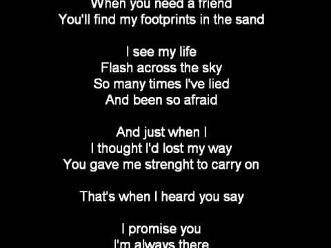 Leona Lewis Footprints In The Sand Lyrics Youtube