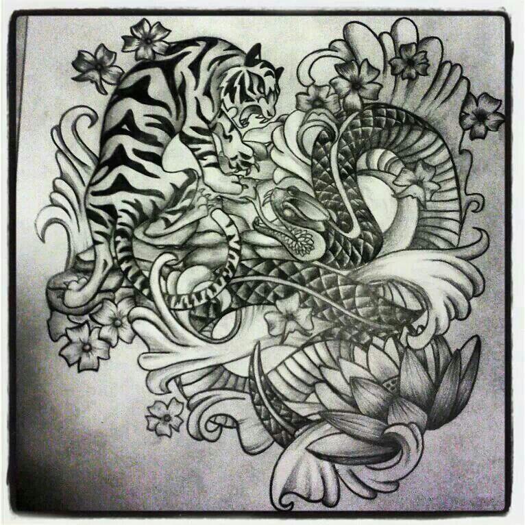 d5480b0a2 Tiger and snake tattoo design | Tattoos ♤ ♧ | Snake tattoo ...