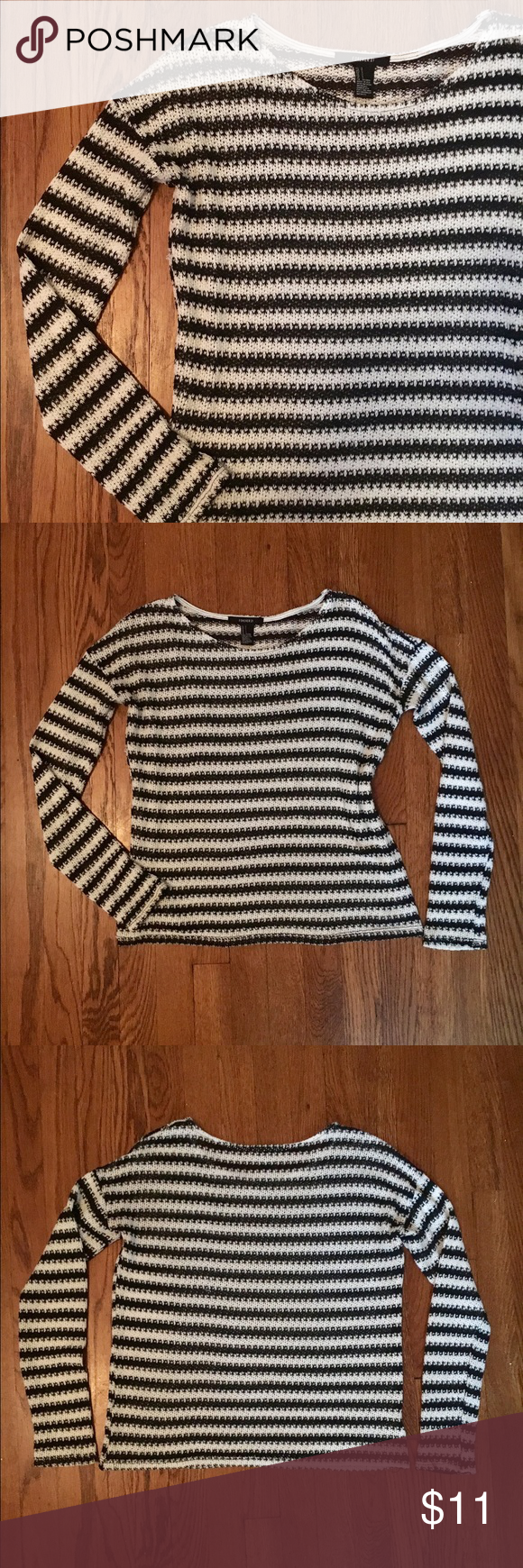 black & white striped knit black & white striped knit sweater from forever 21, size small • perfect all season neutral that you can pair with any color & almost any bottoms - jeans, skirts, shorts + even over dresses! • it's so versatile that it can also be worn as a layering piece over a chambray button up, under an oversized plaid or vest, etc. • good pre-loved condition • semi-sheer - can wear with a nude bra or with a cami • bundle & save - - make an offer Forever 21 Sweaters
