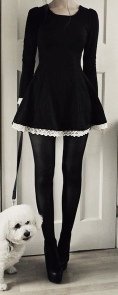 Black dress with white lace trim