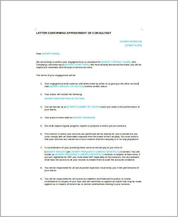 Business Appointment Letters Consultant Letter Doctor Template