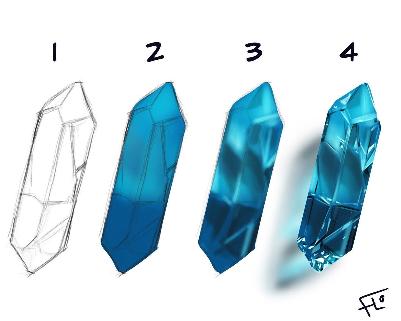 Step by step drawing a gemstone in Procreate on iPad Pro