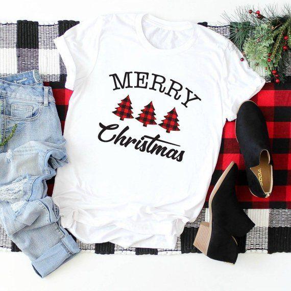 Das Hemd der frohen Weihnachten Frauen, Büffelplaid-Weihnachtst-shirt für Frauen, die T-Shirts der niedlichen Feiertagsfrauen   – Crafts