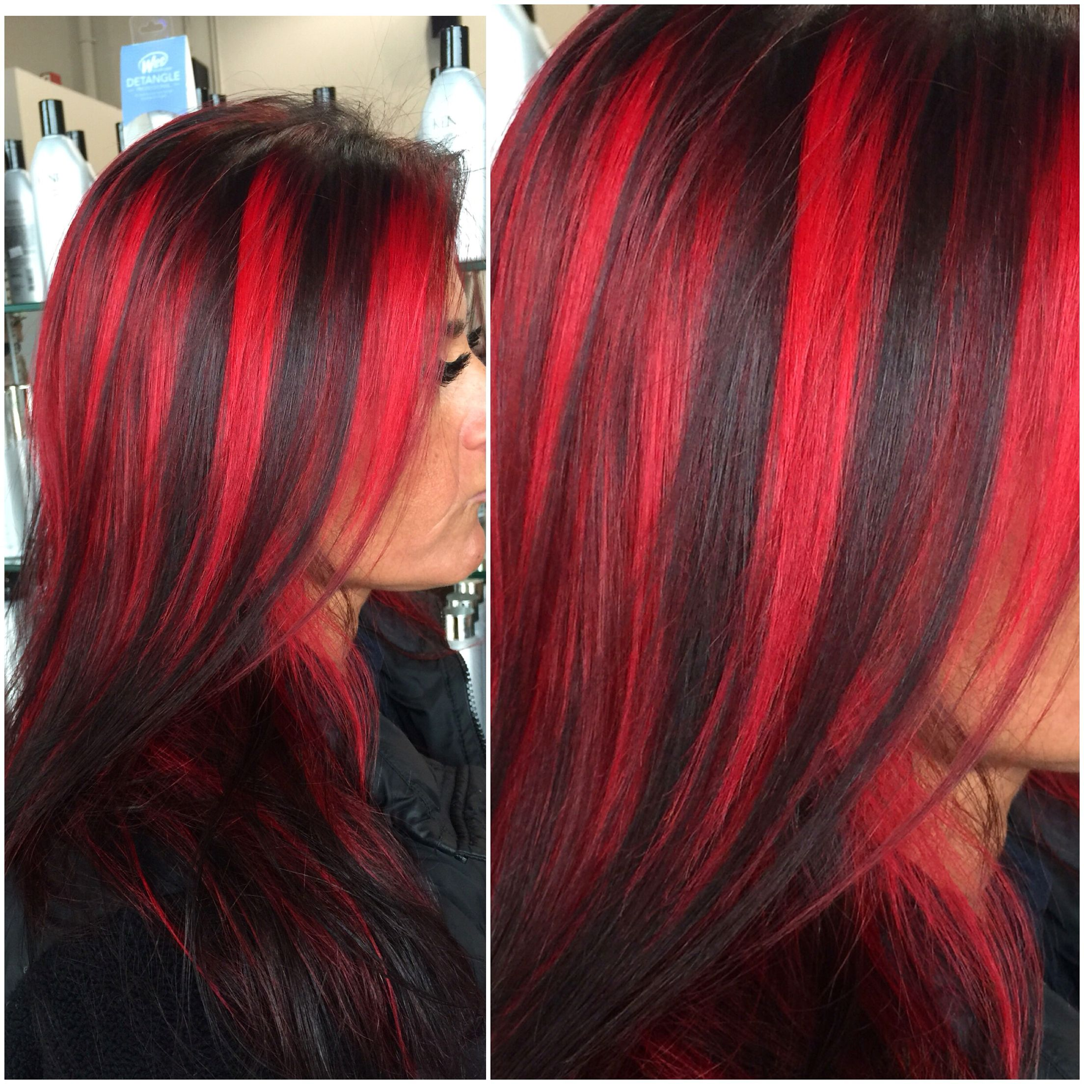 Chunky Red Highlights By Hairbyangelaalberici Long Island Ny Brunette Hair Color Hair Streaks Red Hair Streaks